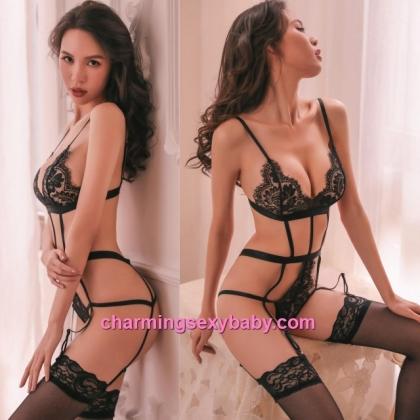 Sexy Lingerie Black Lace Low-Cut Teddies + Garter Belt Sleepwear Nightwear BH7323