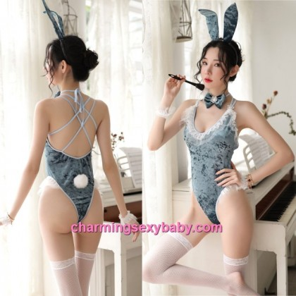 Sexy Lingerie Haze Blue Rabbit Teddies Set Cosplay Costume Sleepwear MH7079