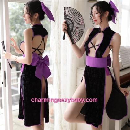 Sexy Lingerie Black Cheongsam Dress + G-String Costume Cosplay Sleepwear MH7078